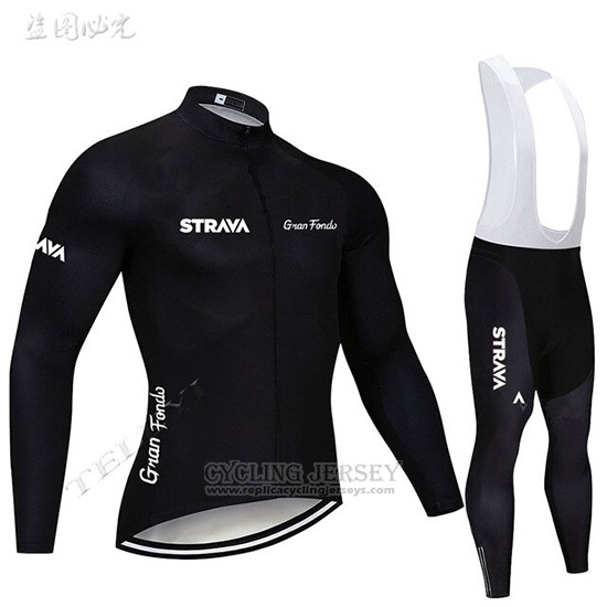 2019 Cycling Clothing STRAVA Black Long Sleeve and Overalls