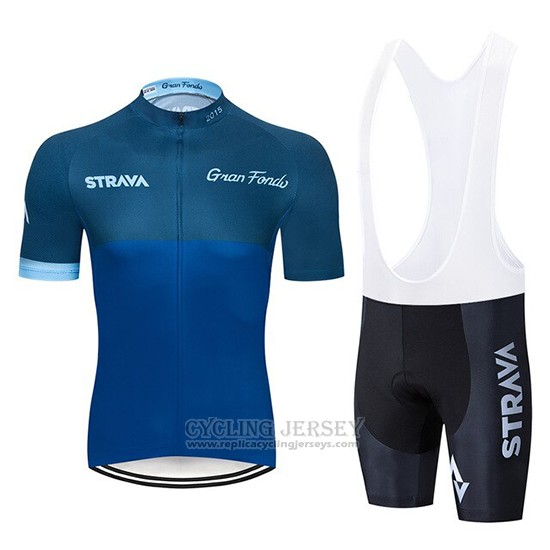2019 Cycling Clothing STRAVA Dark Blue Short Sleeve and Overalls