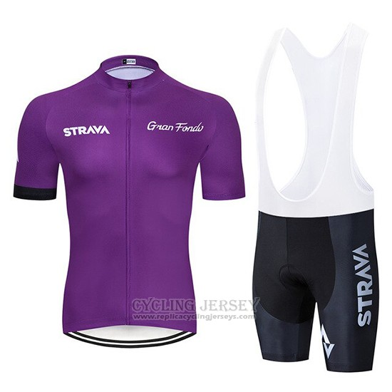 2019 Cycling Clothing STRAVA Dark Purple Short Sleeve and Overalls