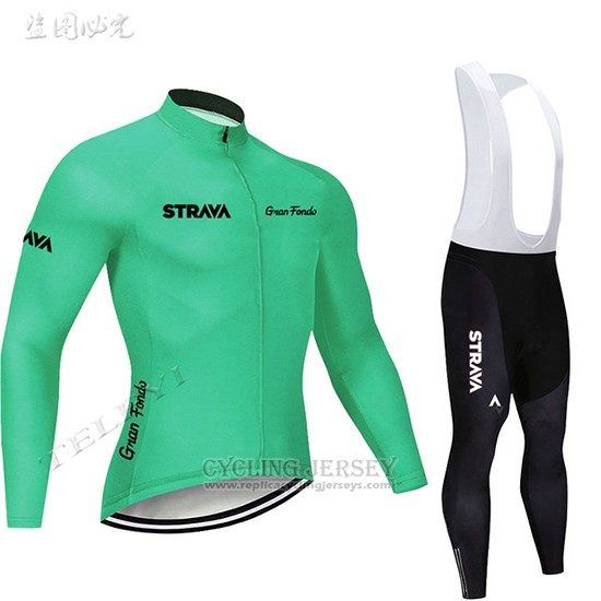 2019 Cycling Clothing STRAVA Green Long Sleeve and Overalls