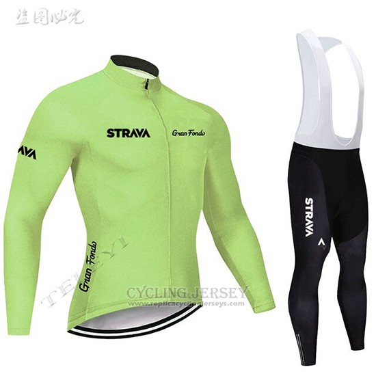 2019 Cycling Clothing STRAVA Light Green Long Sleeve and Overalls