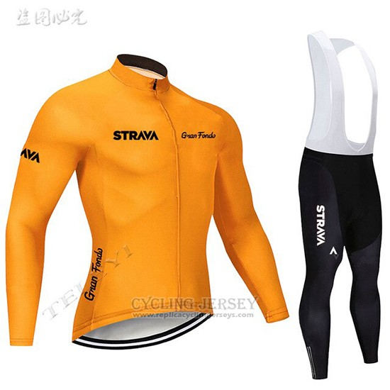 2019 Cycling Clothing STRAVA Orange Long Sleeve and Overalls