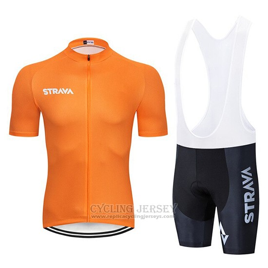 2019 Cycling Clothing STRAVA Orange Short Sleeve and Overalls
