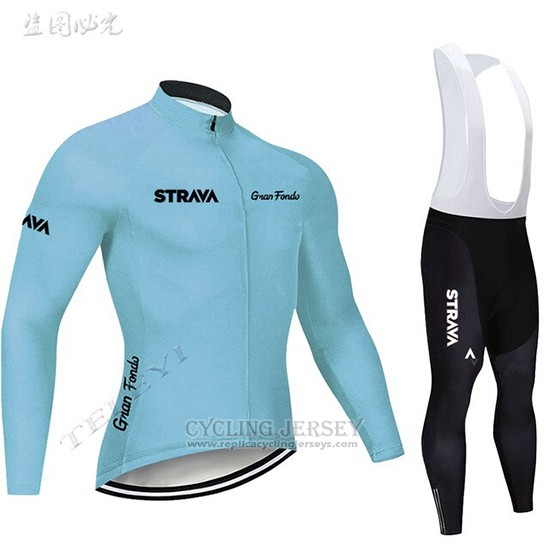 2019 Cycling Clothing STRAVA Sky Blue Long Sleeve and Overalls