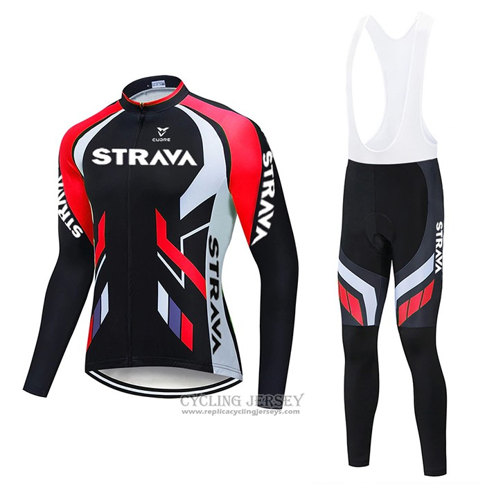 2021 Cycling Jersey STRAVA Red Black Long Sleeve And Bib Tight