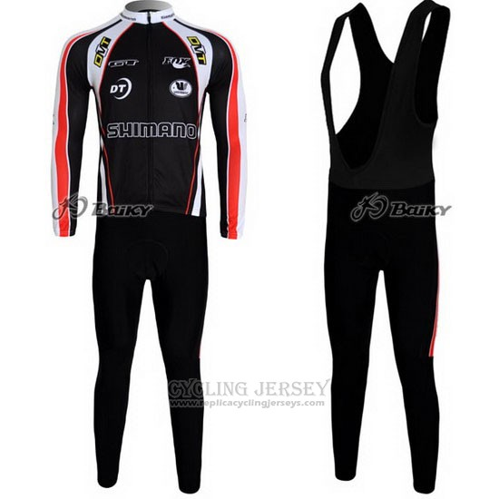 2010 Cycling Jersey Shimano Red and Black Long Sleeve and Bib Tight
