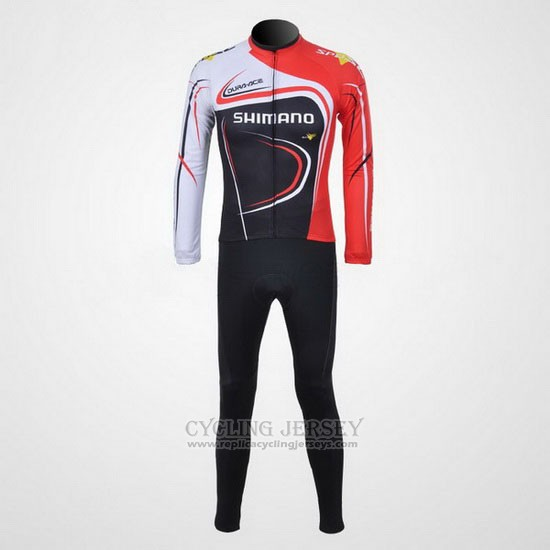 2011 Cycling Jersey Shimano Red and Black Long Sleeve and Bib Tight