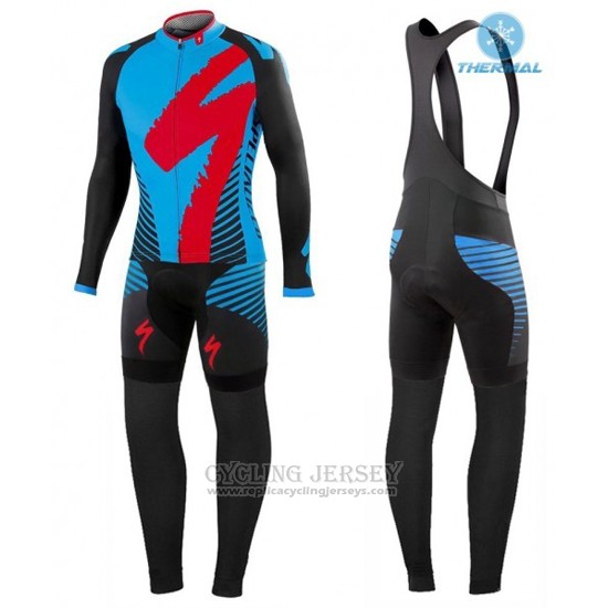 2016 Cycling Jersey Specialized Black and Blue Long Sleeve and Bib Tight