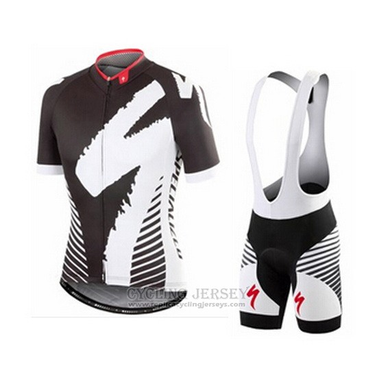 2016 Cycling Jersey Specialized Black and Gray Short Sleeve and Bib Short
