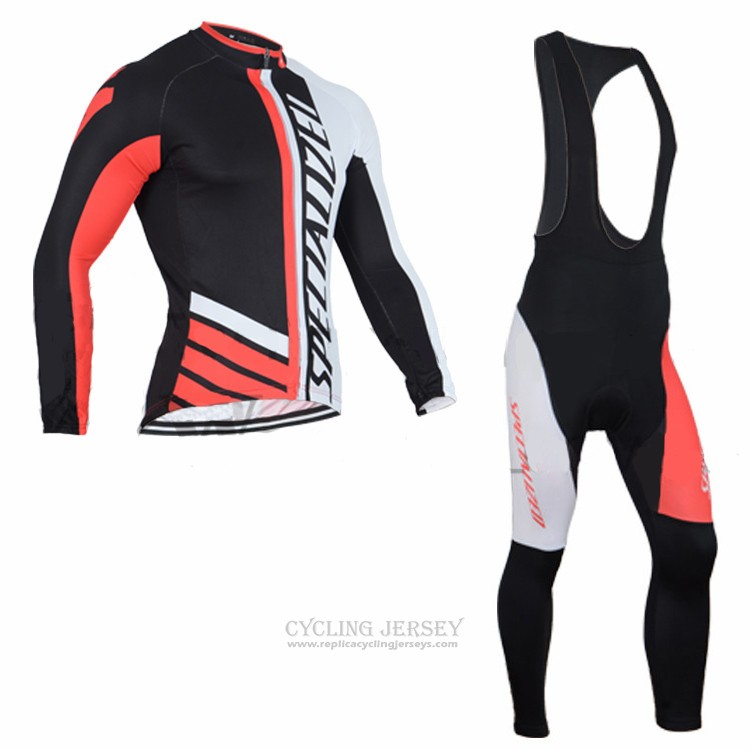 2016 Cycling Jersey Specialized Black and Orange Long Sleeve and Bib Tight