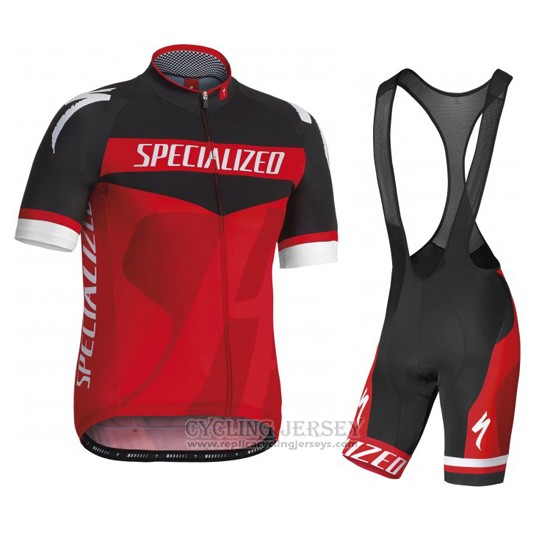 2016 Cycling Jersey Specialized Black and Red Short Sleeve and Bib Short