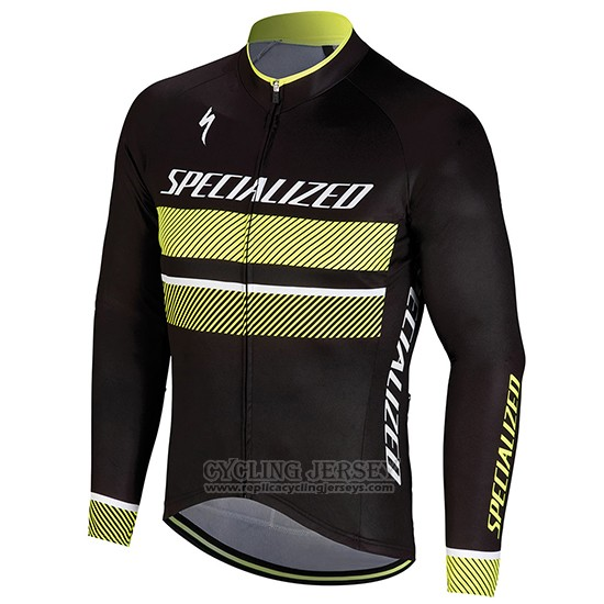2018 Cycling Jersey Specialized Black Yellow Long Sleeve and Bib Tight