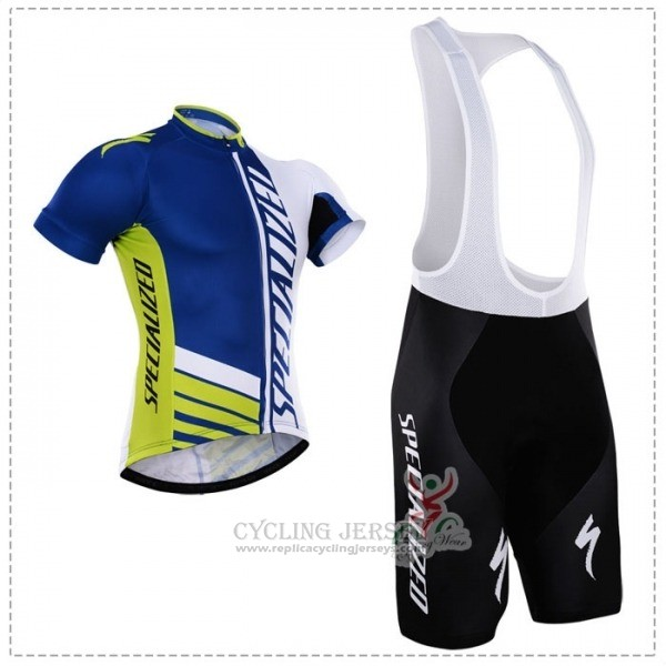 2018 Cycling Jersey Specialized Blue Green White Short Sleeve Salopette