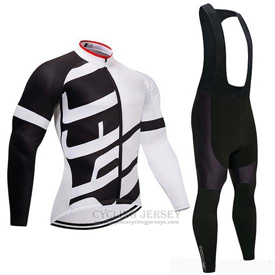 2019 Cycling Jersey Specialized Black White Long Sleeve and Bib Tight