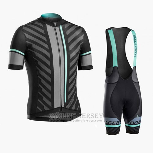 2016 Cycling Jersey Trek Bontrager Black and Gray Short Sleeve and Bib Short