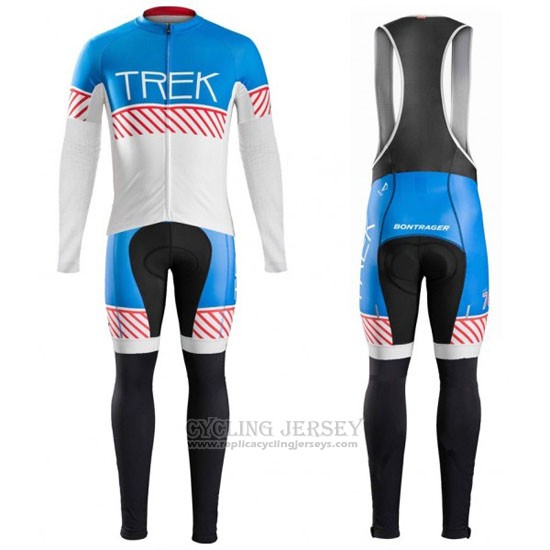 2016 Cycling Jersey Trek Bontrager Blue and White Long Sleeve and Bib Tight