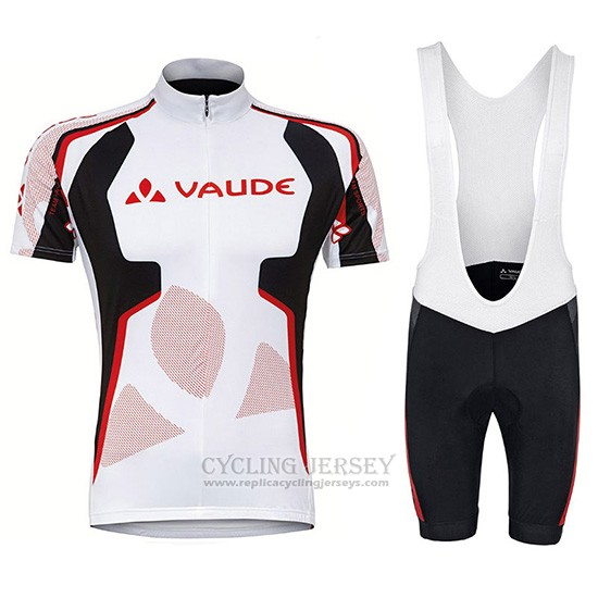 2018 Cycling Jersey Vaude White Red Short Sleeve and Bib Short