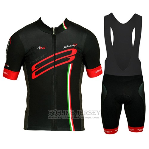 2015 Cycling Jersey Wieiev Red and Black Short Sleeve and Bib Short