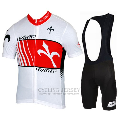 2015 Cycling Jersey Wieiev Red and White Short Sleeve and Bib Short