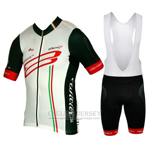 2015 Cycling Jersey Wieiev White and Red Short Sleeve and Bib Short