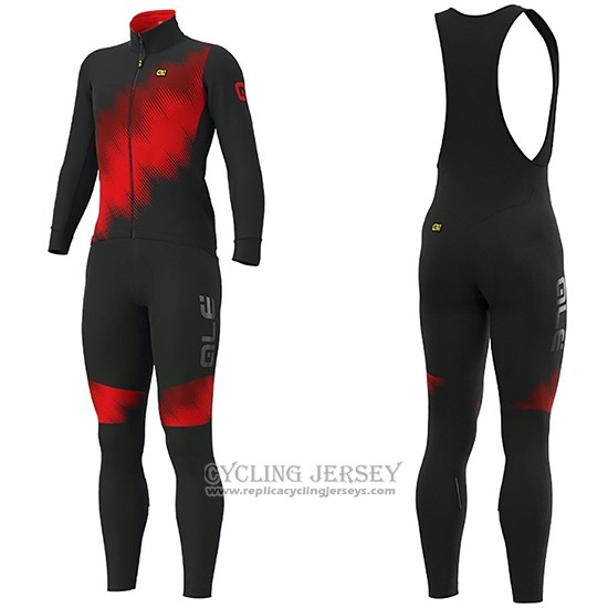 2019 Cycling Jersey Ale Pulse Red Black Long Sleeve And Bib Tight