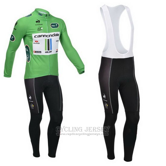 2013 Cycling Jersey Cannondale Lider Green and White Long Sleeve and Bib Tight