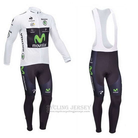 2013 Cycling Jersey Movistar Lider White Long Sleeve and Bib Tight