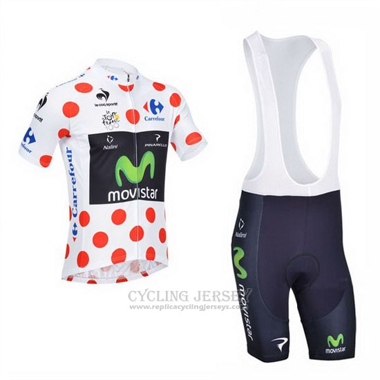 2013 Cycling Jersey Movistar Lider White and Red Short Sleeve and Bib Short