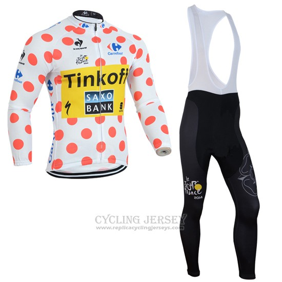 2014 Cycling Jersey Saxobank Lider White and Red Long Sleeve and Bib Tight