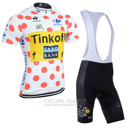 2014 Cycling Jersey Tour de France Saxobank Lider White and Red Short Sleeve and Bib Short