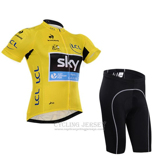 2015 Cycling Jersey Sky Lider Yellow Short Sleeve and Bib Short