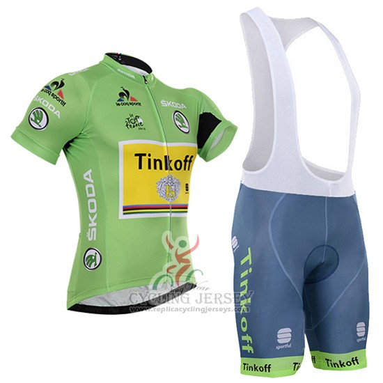 2016 Cycling Jersey Tinkoff Lider Green and Black Short Sleeve and Bib Short
