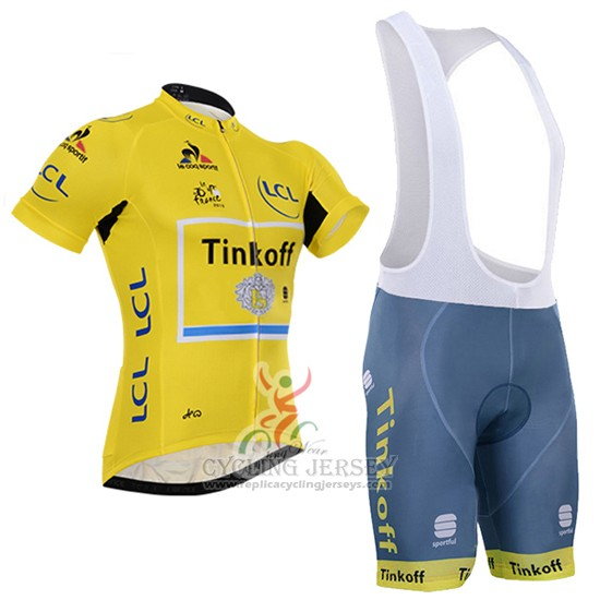 2016 Cycling Jersey Tinkoff Lider Yellow and Black Short Sleeve and Bib Short