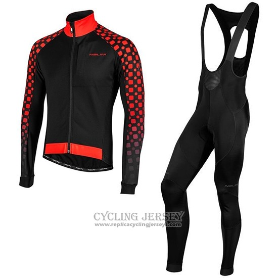 2019 Cycling Jersey Nalini Crit 3l 2.0 Black Red Long Sleeve And Bib Tight