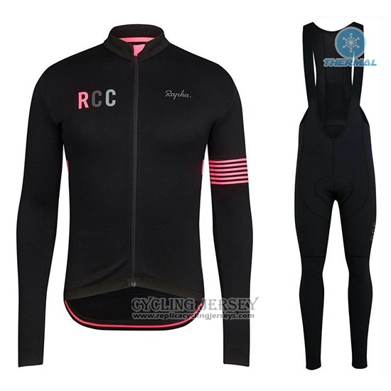 2019 Cycling Jersey Rapha Black Pink Long Sleeve And Bib Tight
