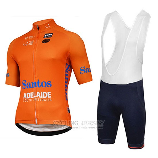 2018 Cycling Jersey Tour Down Under Santos Orange Short Sleeve and Bib Short