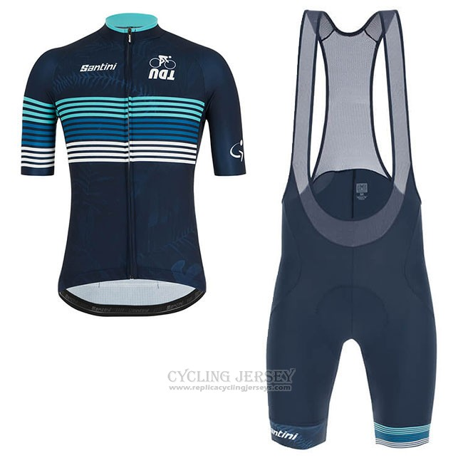 2019 Cycling Jersey Tour Down Under Bluee Short Sleeve and Bib Short