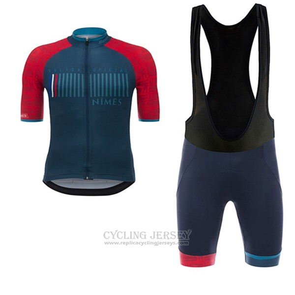 2017 Cycling Jersey Nimes Vuelta Espana Blue and Red Short Sleeve and Bib Short