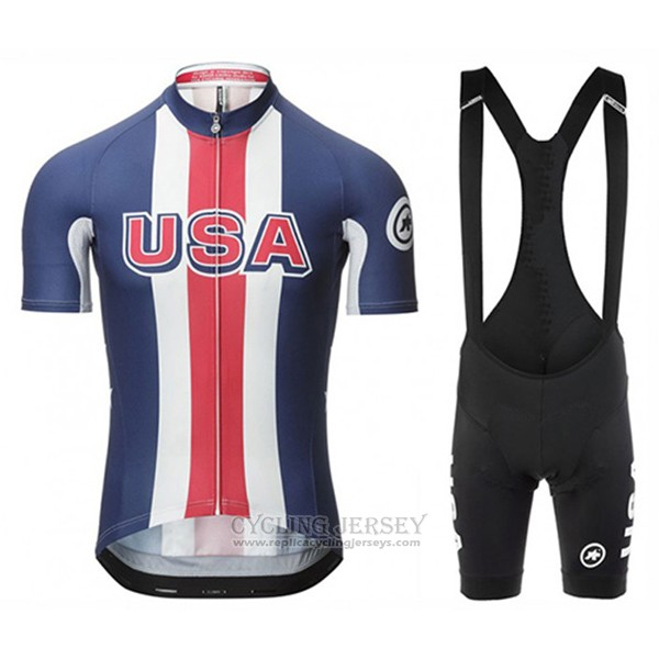 2017 Cycling Jersey Assos Champion The United States Blue Short Sleeve and Bib Short