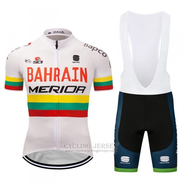 2018 Cycling Jersey Bahrain Merida Champion Lithuania Short Sleeve and Bib Short