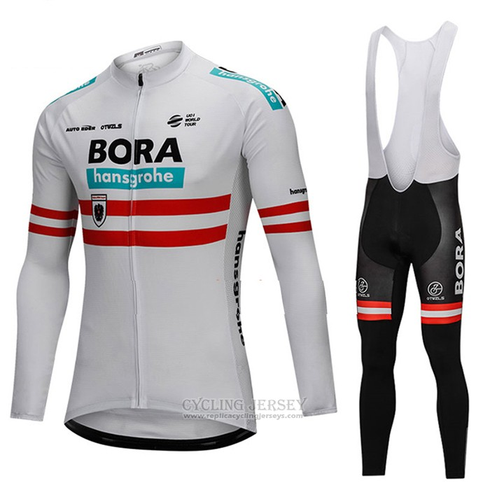 2018 Cycling Jersey Bora Champion Austria White Long Sleeve and Bib Tight