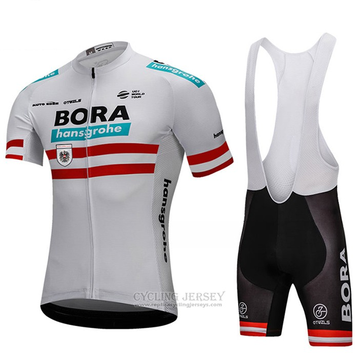 2018 Cycling Jersey Bora Champion Austria White Short Sleeve and Bib Short