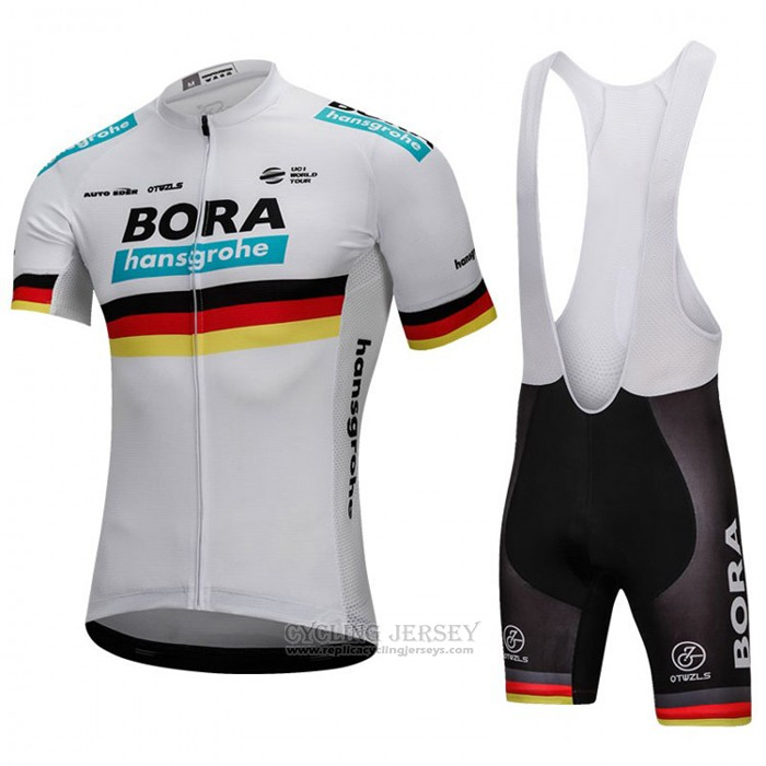 2018 Cycling Jersey Bora Champion Belgium White Short Sleeve and Bib Short