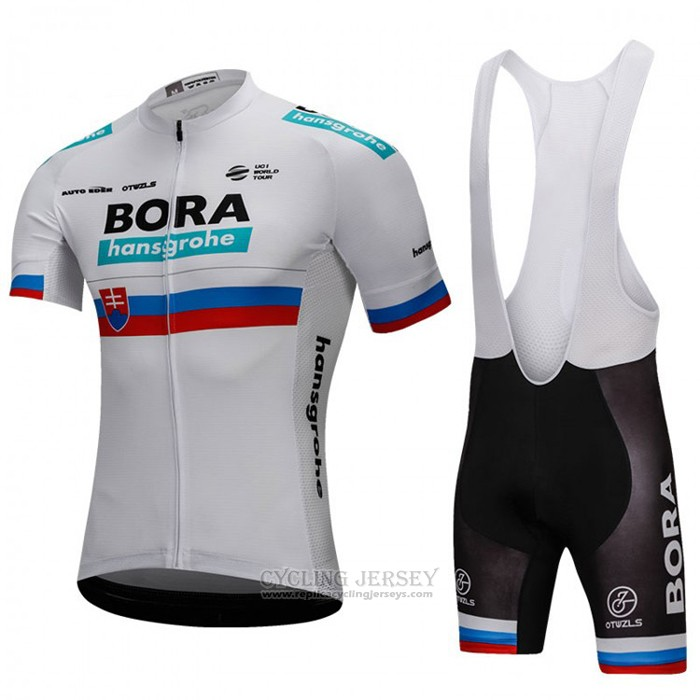 2018 Cycling Jersey Bora Champion Slovakia White Short Sleeve and Bib Short