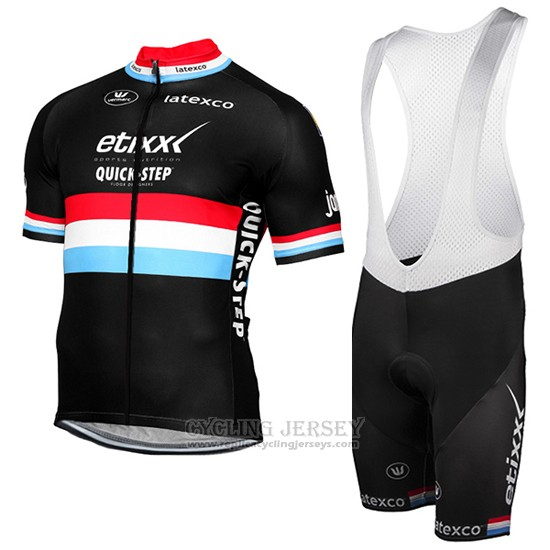 2017 Cycling Jersey Etixx Quick Step Champion Luxembourg Black Short Sleeve and Bib Short