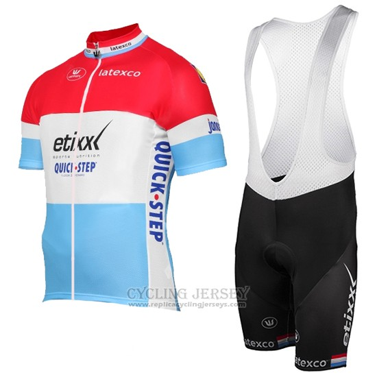 2017 Cycling Jersey Etixx Quick Step Champion Luxembourg Short Sleeve and Bib Short