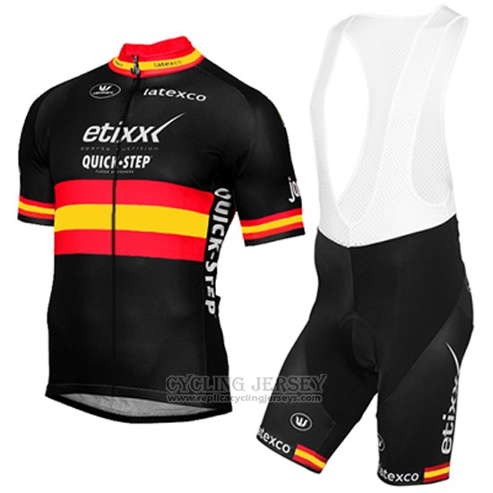 2017 Cycling Jersey Etixx Quick Step Champion Spain Yellow and Black Short Sleeve and Bib Short
