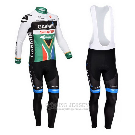 2013 Cycling Jersey Garmin Sharp Champion South Africa Long Sleeve and Bib Tight