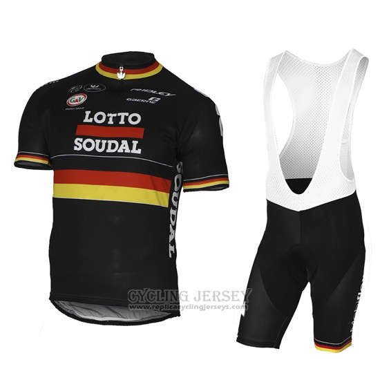 2017 Cycling Jersey Lotto Soudal Champion Belga Short Sleeve and Bib Short