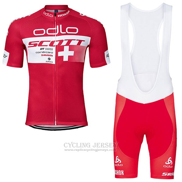 2017 Cycling Jersey Scott Champion Switzerland Short Sleeve and Bib Short